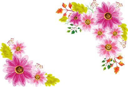 水彩風秋桜の花フレーム