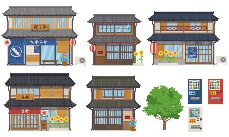 夏の日本家屋と店のセットのベクターイラスト
