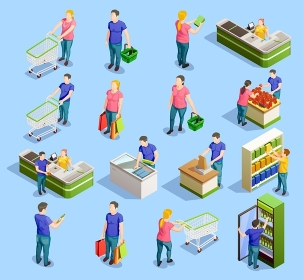 Supermarket Isometric Elements Collection. Isometric people shopping set of isolated human characters with trolley carts cabinet shelves and checkout stand vector illustration