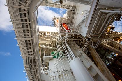 地球深部探査船の巨大な配管(清水港・静岡)