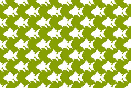 金魚のシルエットの緑色の背景イラスト