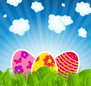 Vector illustration background with  easter eggs