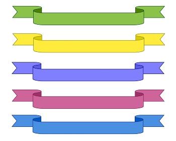 シンプルな横長のリボン5色セット
