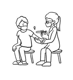 ワクチン接種の注射を打つ高齢者のイラスト 線画