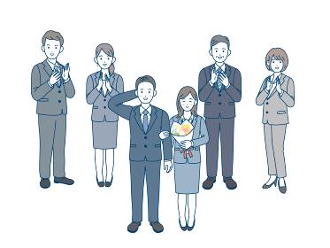 社内結婚 寿退社 カップル 拍手 祝う 会社員 スーツ姿 男女 全身 イラスト素材
