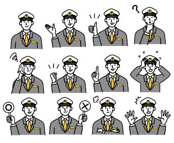 男性 若い バス タクシー 運転手 ベクター ポップ 表情 セット