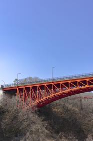 春を待つ広瀬川と熊ヶ根橋
