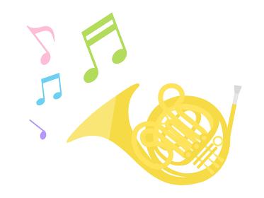 楽器のホルンを演奏するイラスト