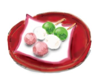 和風手描きイラスト素材 和菓子 三色だんご