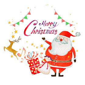 クリスマス プレゼント サンタクロース 水彩 イラスト