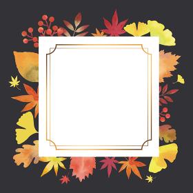 秋の葉 エレガント装飾フレーム 水彩画(正方形 四角 ヴィンテージ装飾 黒背景)