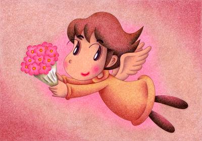 花束を贈る天使