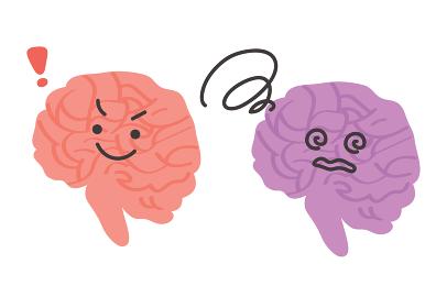 健康な脳と不健康な脳のイラスト