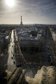The Eiffel Tower seen from the Arc du Triomphe in Paris, France