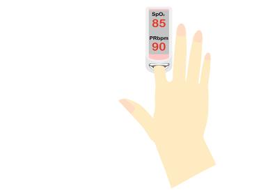 パルスオキシメーターでSpO2を測定している手、値が低い