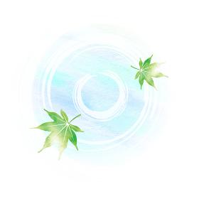暑中見舞い・残暑見舞いで使える夏の風物詩 水彩イラスト / 池とモミジの葉