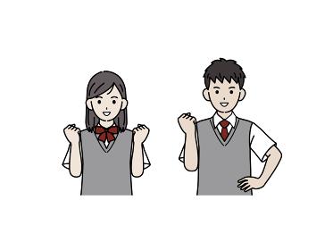 ガッツポーズをする学生 やる気 中高生 高校生 中学生 男女 イラスト素材