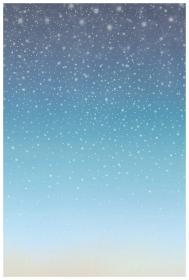 ハガキサイズのメッセージカード 星降る夜空 雪と冬空