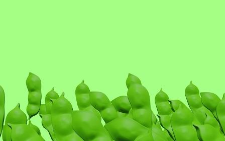 下に集まるたくさんの枝豆背景素材、3Dレンダリング