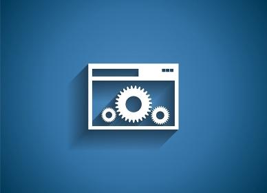 Setting Glossy Icon Vector Illustration on Blue Background. EPS10. Setting Glossy Icon Vector Illustration