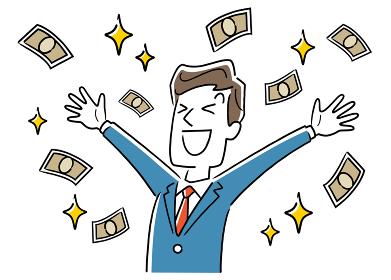 イラスト素材:お金を得て喜ぶビジネスマン