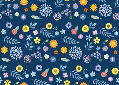 花の背景パターン 紺色