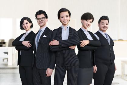 5人の男女の会社員が笑顔で並んで立っている