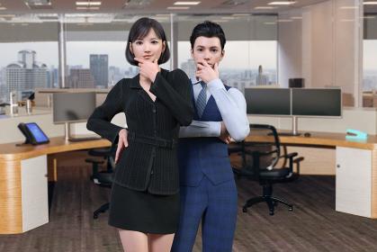 高層ビルのオフィスで黒いスーツの女性社員と男性社員が顎に指を当てて推理するポーズをする