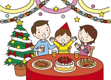クリスマスパーティーをする3人家族