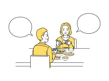 一緒に食事をする中高年の夫婦 朝食 食卓 男女 ミドル イラスト素材