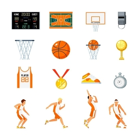 Basketball Orthogonal Icons Set. Basketball orthogonal icons set with players trophies whistle stopwatch backboard court and sports uniform isolated vector illustration