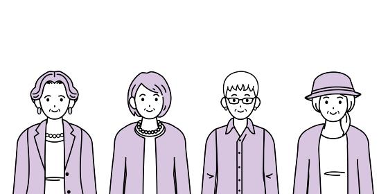年配の女性 シニア 高齢者 人々 セット イラスト素材