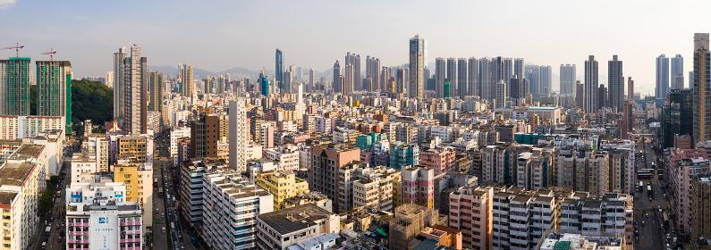 Sham Shui Po, Hong Kong, 11 September 2018:- Hong Kong city, panoramic shot