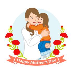 娘を抱きしめる母親- 母の日コンセプトイラスト