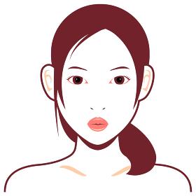 若い日本人女性モデル 上半身イラスト(美容・フェイスケア) / 口を尖らせている顔
