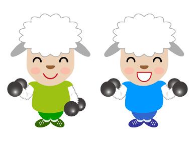 筋トレをする仔羊のキャラクター