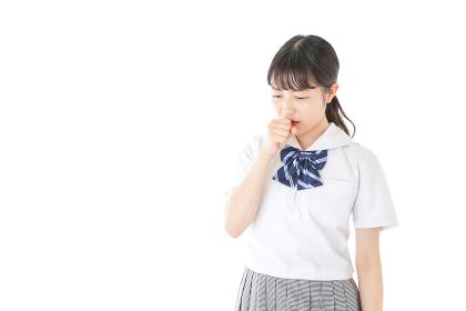 咳をする若い女子学生