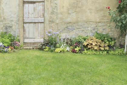 花のある庭の合成向け背景素材