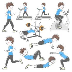 スポーツジムでトレーニングをする男性のイラストセット