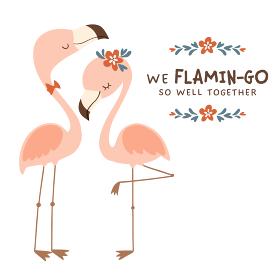 かわいいフラミンゴのカップルのイラスト