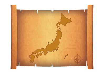 古い巻物に描かれた日本地図のイラスト 羊皮紙 お宝の地図のイメージイラスト アンティーク