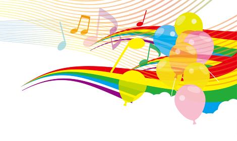 虹と風船の背景イラスト