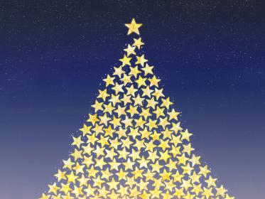キラキラ星で作ったクリスマスツリー ネイビーブルーの背景