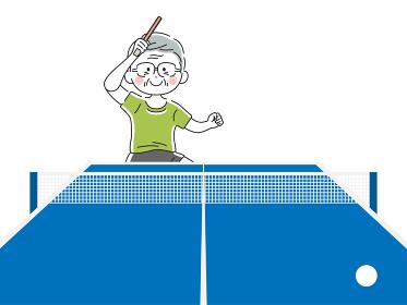 卓球をする年配の男性のイラスト
