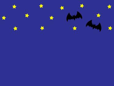 コウモリと星の背景素材イラスト。ハロウィンで使える用。