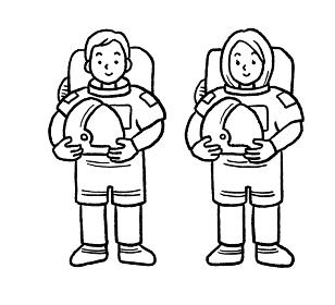 宇宙飛行士の男女の線画イラスト