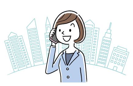 イラスト素材:ビジネスウーマン、電話、都会