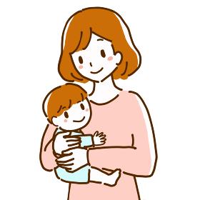 笑顔で赤ちゃんを抱いている若い母親の線画イラスト