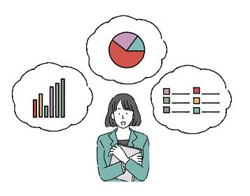 若い女性 シンプルなタッチのビジネスウーマンとグラフのセット