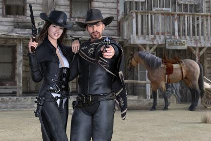 カウボーイハットを被った男女が肩を組んで銃を手に持っている